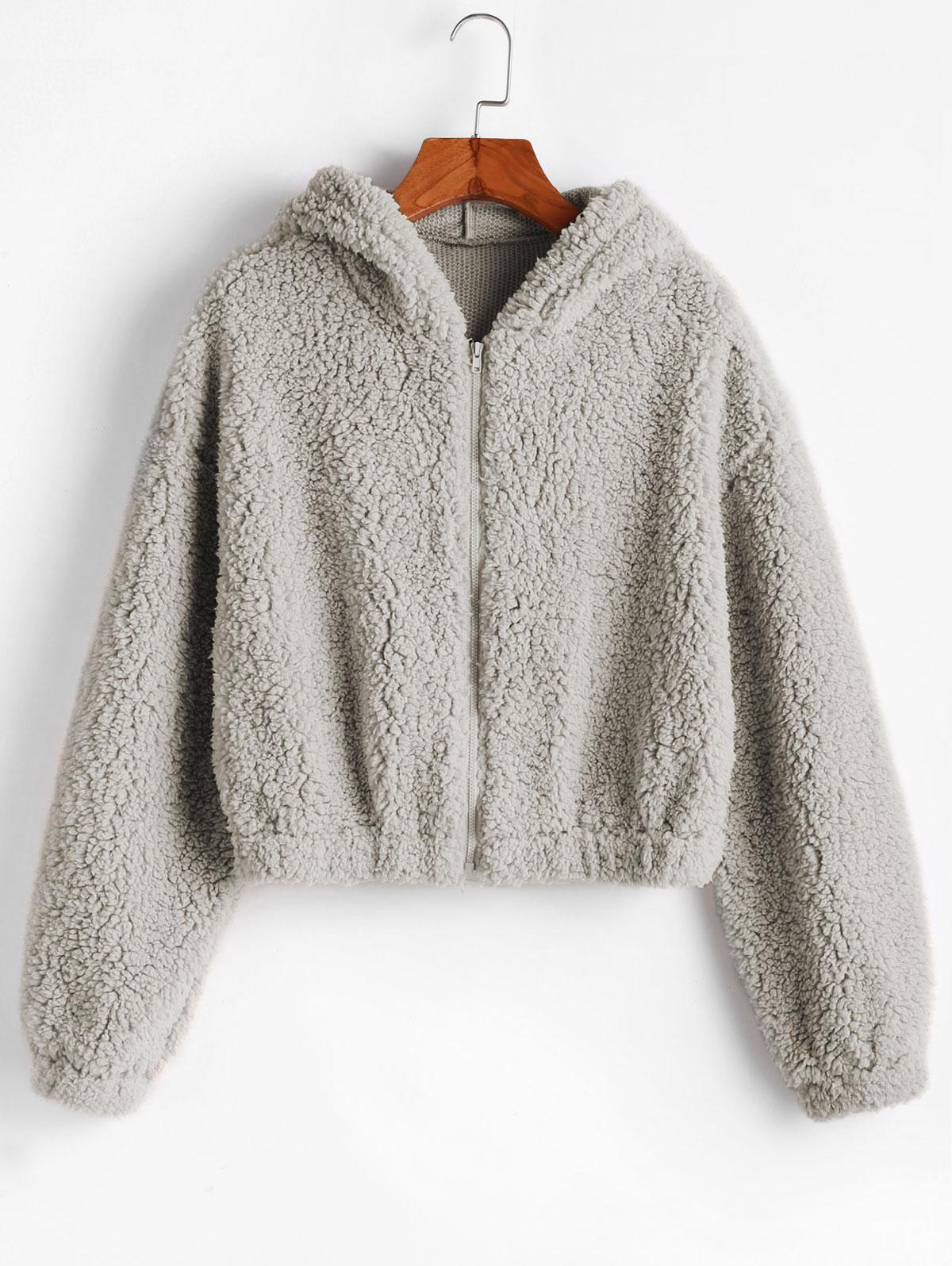 ZAFUL Hooded Zip Up Fluffy Teddy Jacket