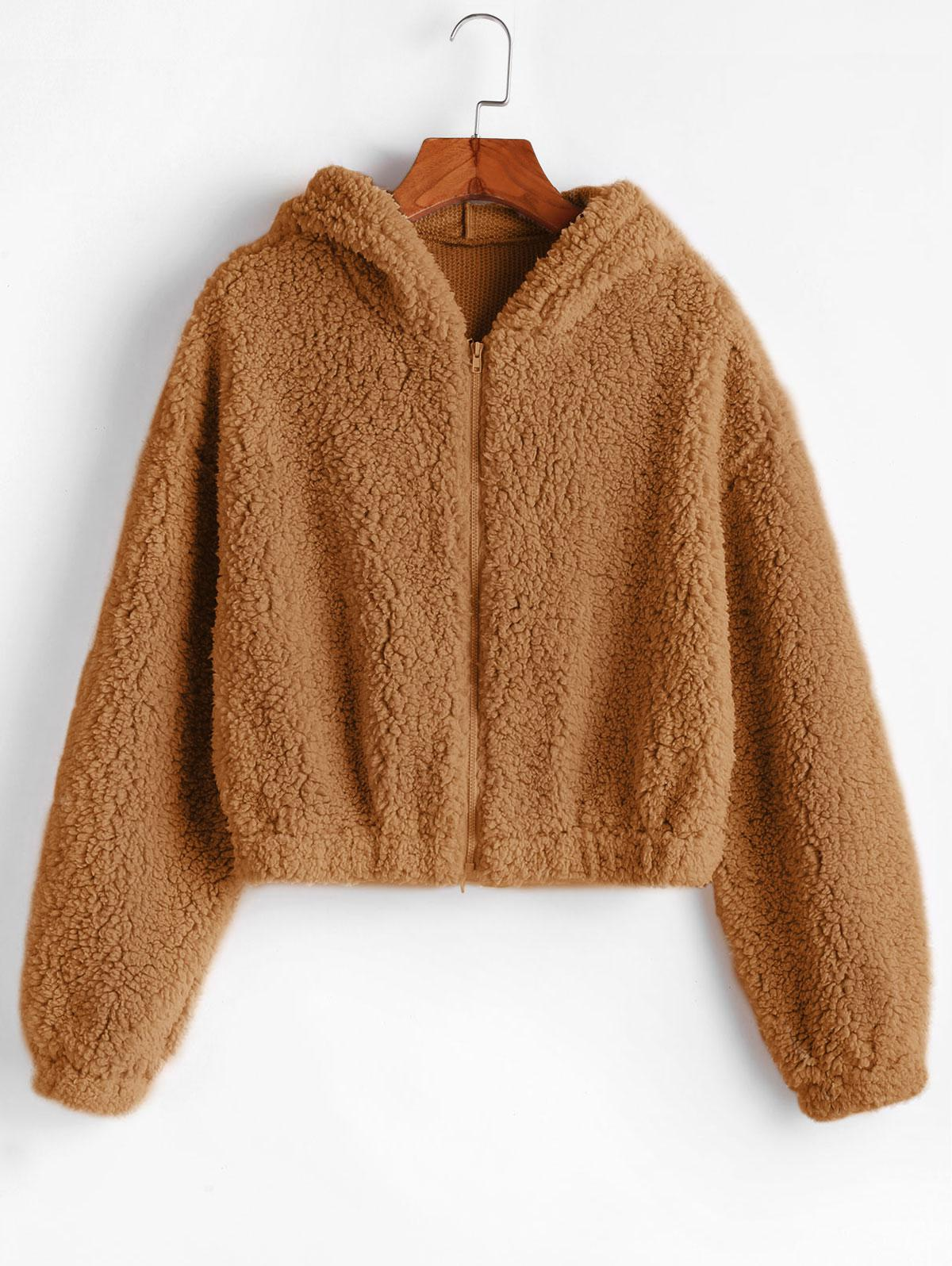 ZAFUL Hooded Zip Up Fluffy Teddy Jacket, Caramel