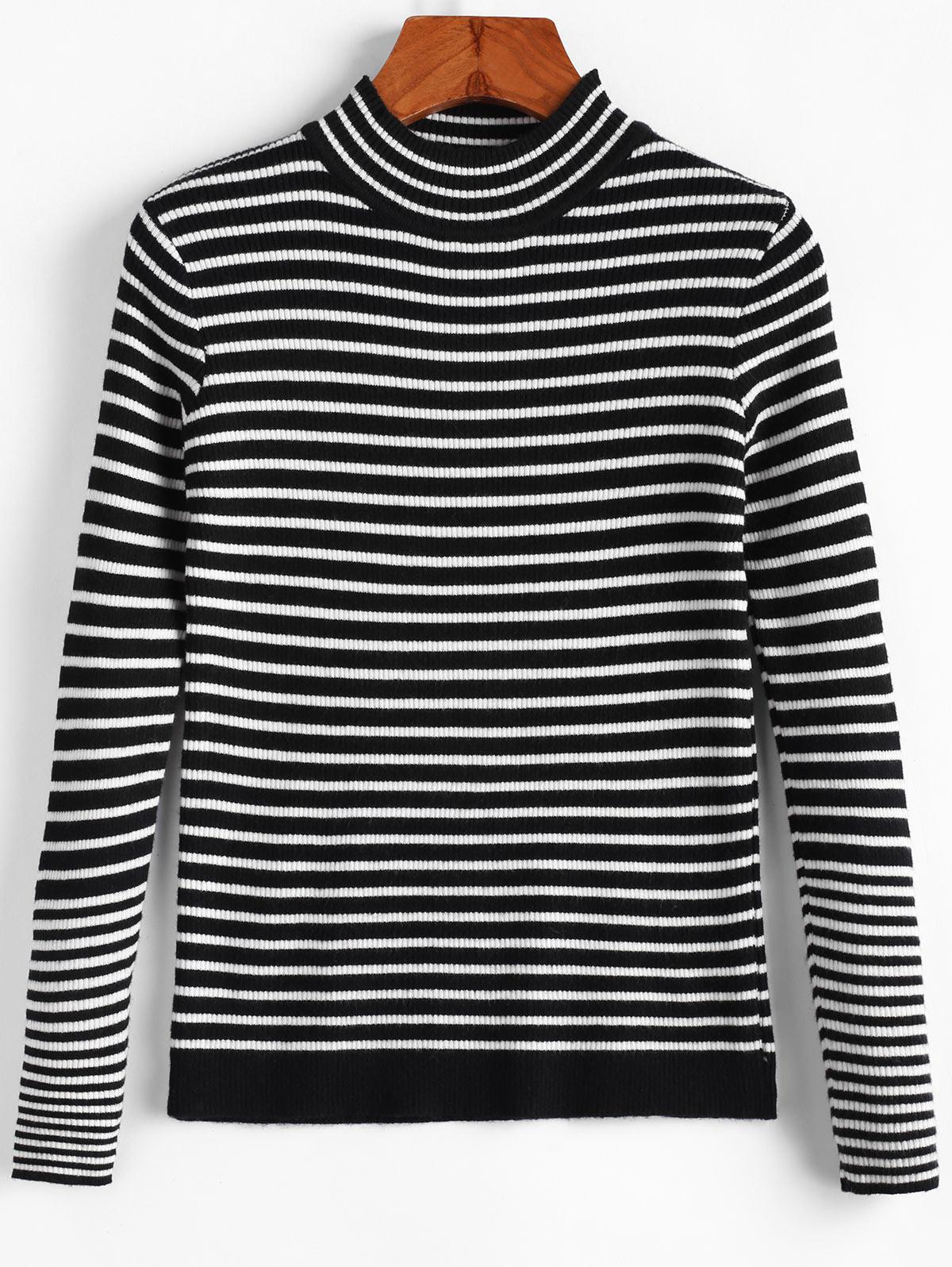 Ribbed Striped Mock Neck Slim Sweater