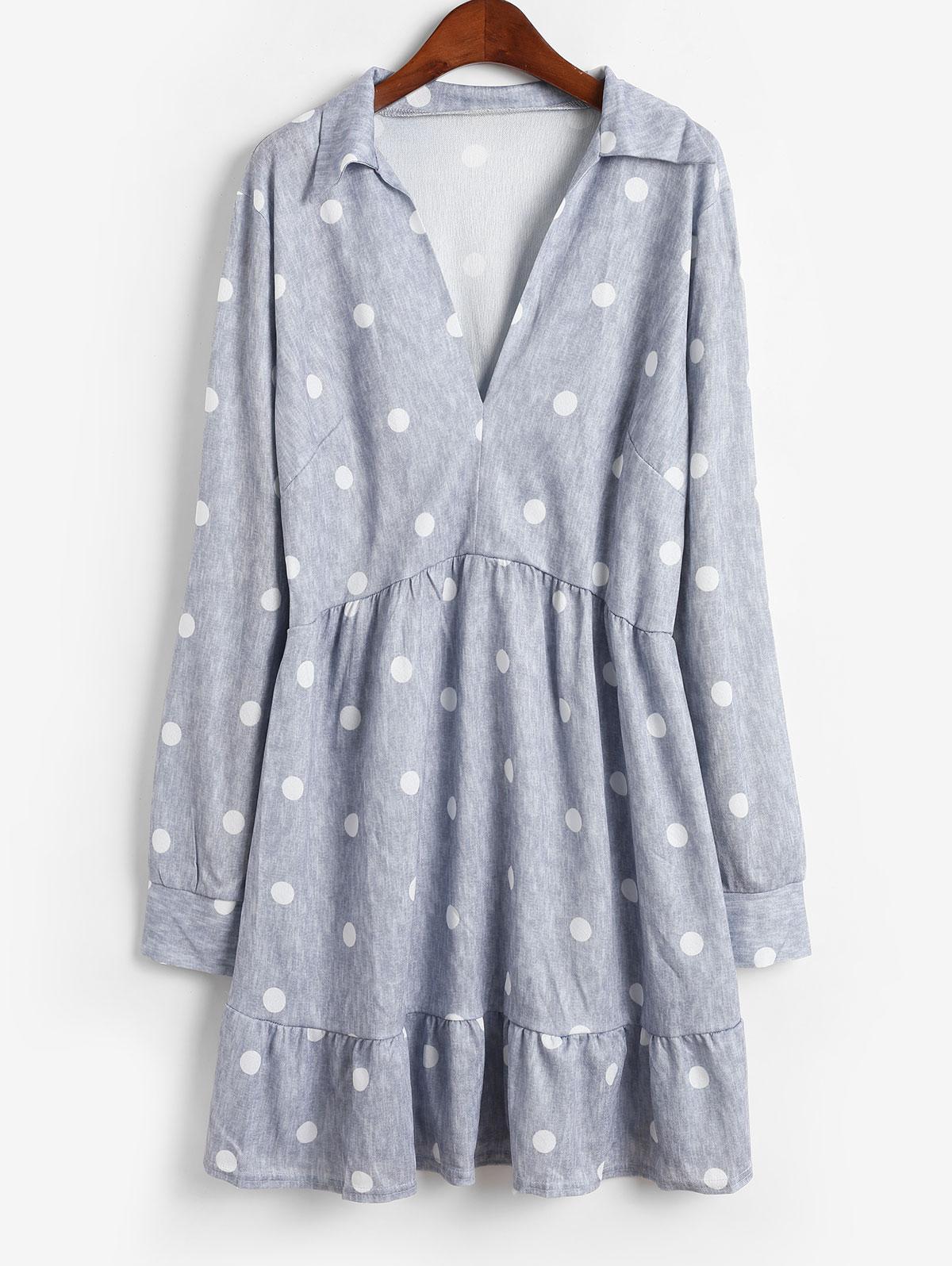 Polka Dot Slit Sleeves Flared Mini Dress, Gray