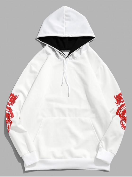 ladies Dragon Pattern Print Pullover Kangaroo Pocket Hoodie - WHITE 4XL