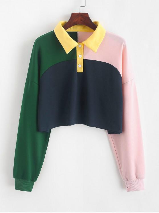 latest ZAFUL Colorblock Half Button Crop Sweatshirt - MULTI-B XL