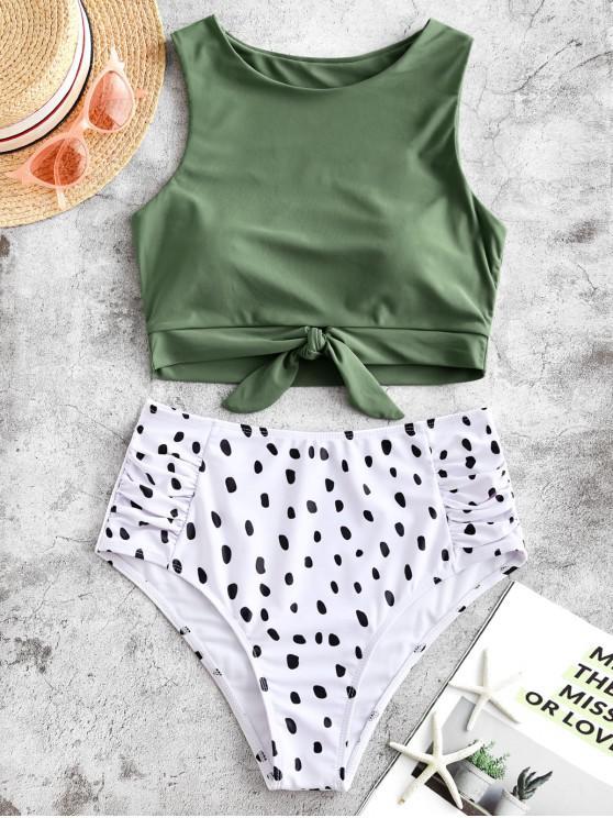 Bañador Tankini fruncido con nudo y estampado dálmata ZAFUL - Verde Camuflaje S