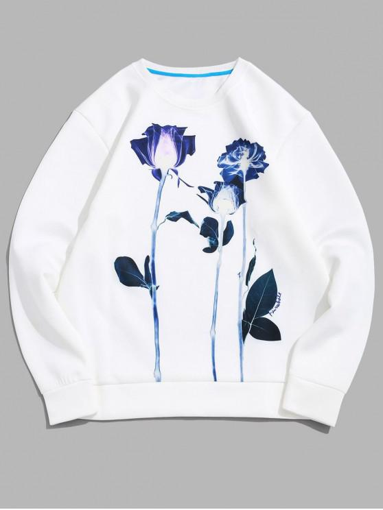 affordable Flower Print Pullover Sweatshirt - WHITE XL
