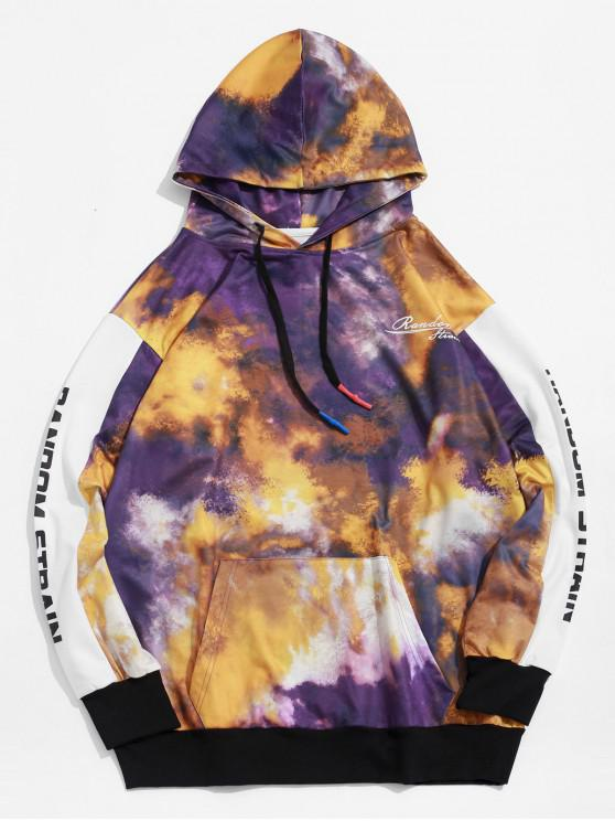 affordable Letter Print Tie Dye Pullover Hoodie - MULTI XL
