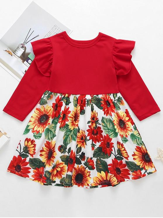 shops Girls Floral Print Ruffled Sleeve A Line Dress - RED 130