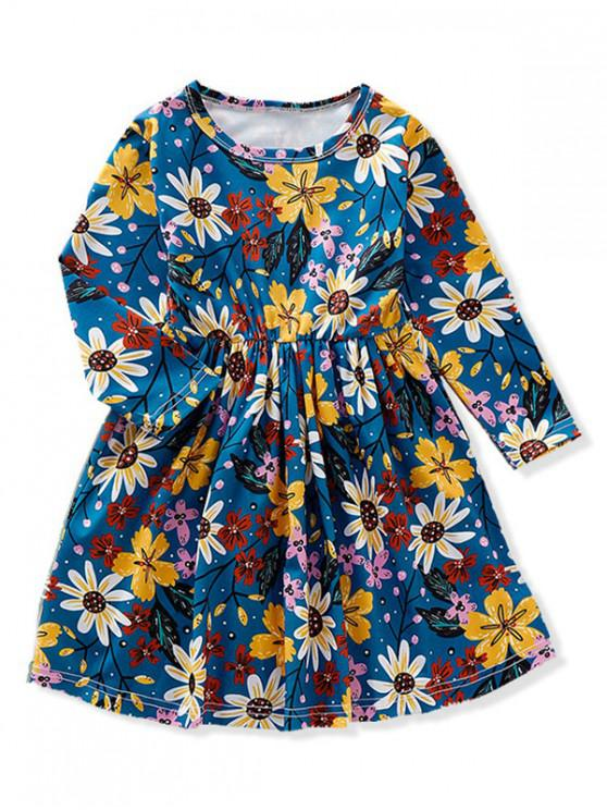 hot Girls Sunflower Print Long Sleeve A Line Dress - CADETBLUE 130