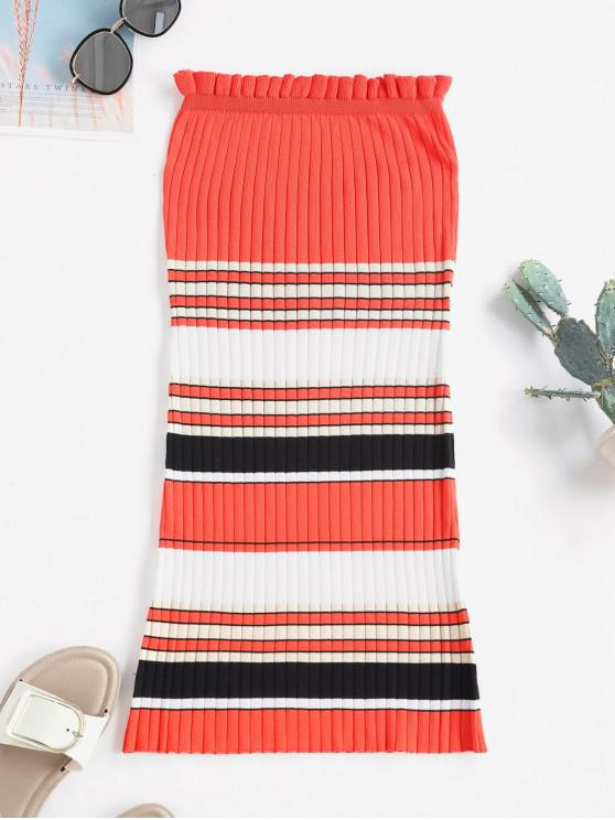 chic Contrast Striped Ribbed Strapless Bodycon Dress - RED S