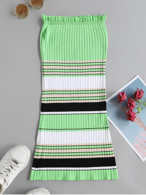 women's Contrast Striped Ribbed Strapless Bodycon Dress - GREEN M