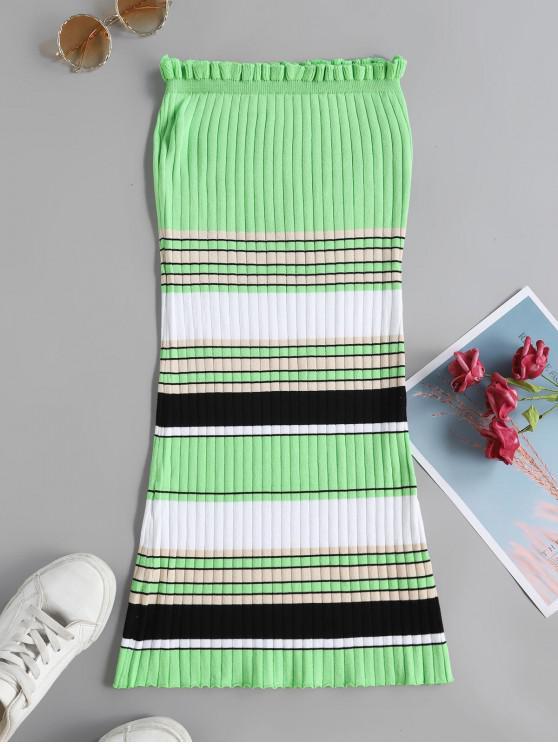 Контрастные цветы Полосатый принт Без бретелек Рубчатое Платье - Зеленый L
