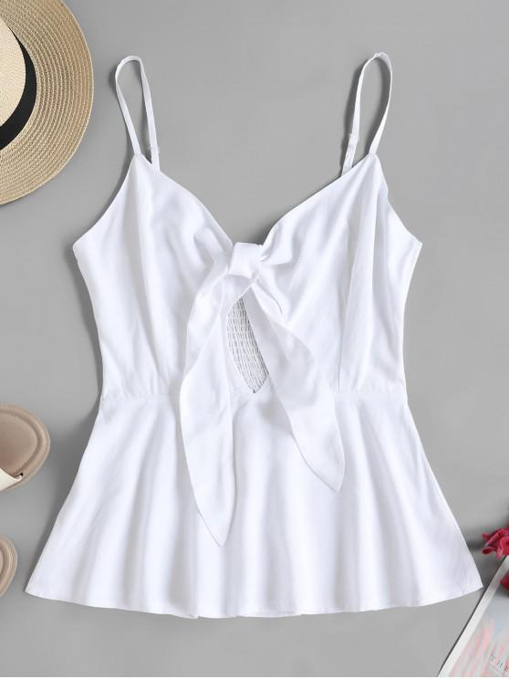 chic ZAFUL Solid Tie Front Smocked Back Cami Top - WHITE L