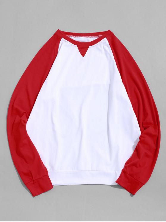 womens Contrast Color Splicing Raglan Sleeve T-shirt - RED XS