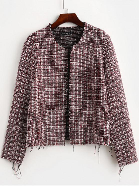 women's ZAFUL Frayed Hem Open Front Tweed Jacket - MULTI L