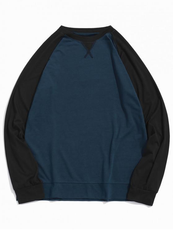 hot Raglan Sleeve Color-blocking Spliced T-shirt - CADETBLUE L