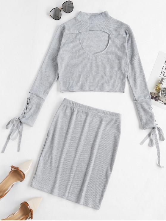 womens Cut Out Lace Up Solid Sheath Skirt Set - GRAY M