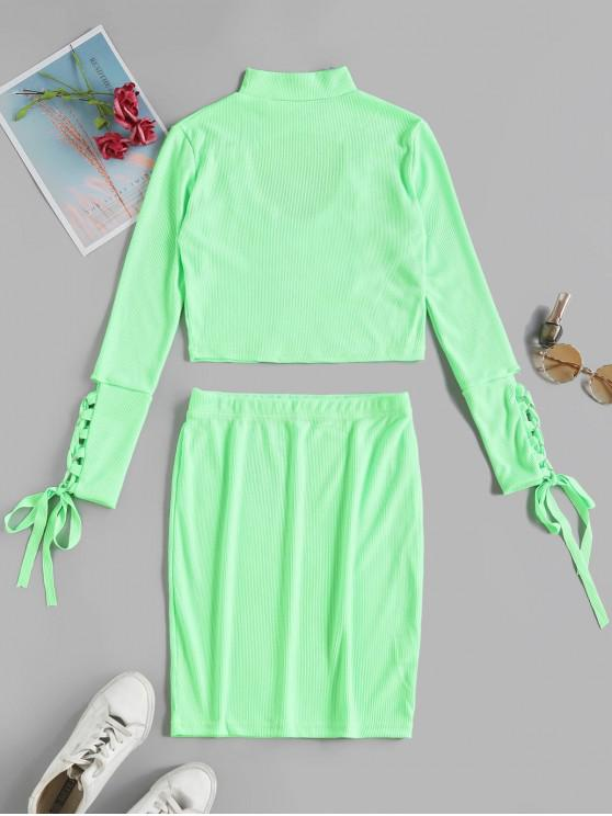 hot Cut Out Lace Up Solid Sheath Skirt Set - GREEN M