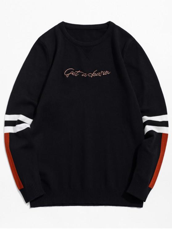 unique Round Neck Letter Striped Design Pullover Sweater - BLACK S