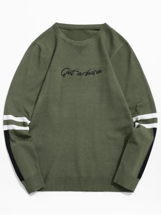 new Round Neck Letter Striped Design Pullover Sweater - CAMOUFLAGE GREEN S