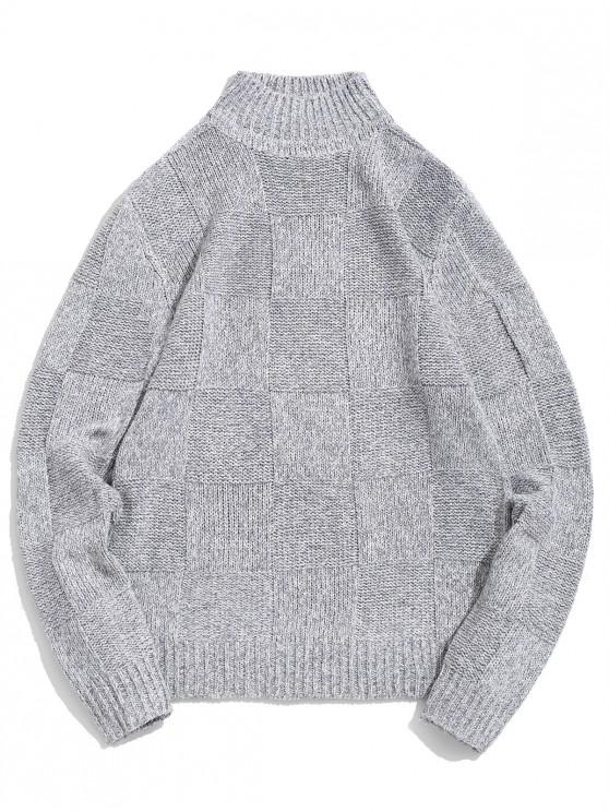 hot Checked Pattern High Neck Pullover Sweater - LIGHT GRAY S