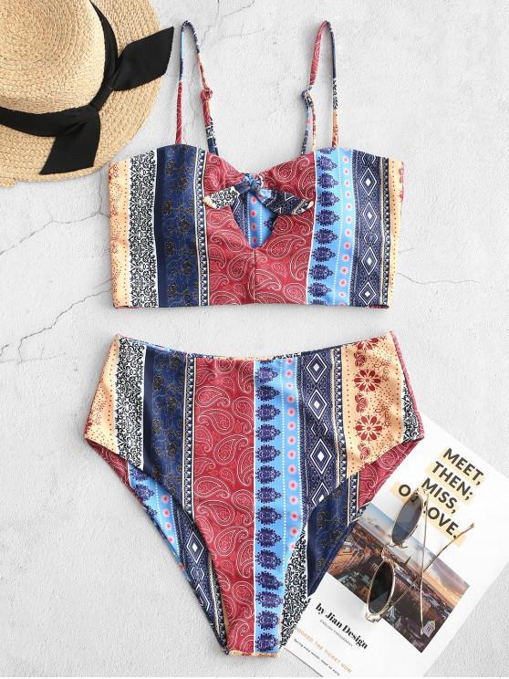 ladies ZAFUL Bohemian Tie Keyhole High Waisted Tankini Swimsuit - MULTI-A M