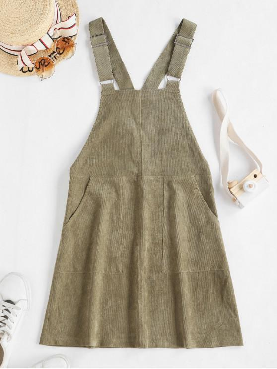 lady ZAFUL Double Pocket Buckle Strap Corduroy Pinafore Dress - CAMOUFLAGE GREEN XL