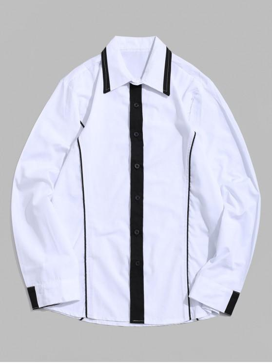 fancy Contrast Color Splicing Striped Basic Button Shirt - WHITE XS