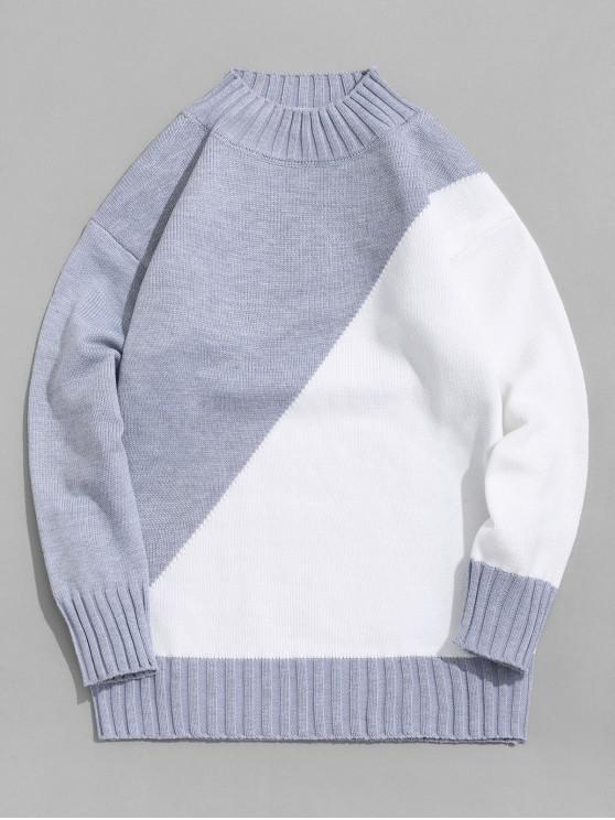 Цветной блок Пуловер Свитер - Светло-серый XS