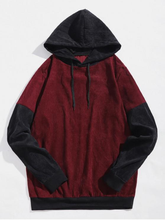 shops Colorblock Splicing Casual Hoodie - RED M