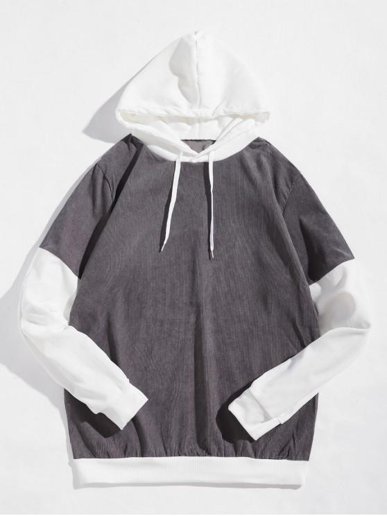 Farbblock Spleißen Lässiges Hoodie - Dunkelgrau S