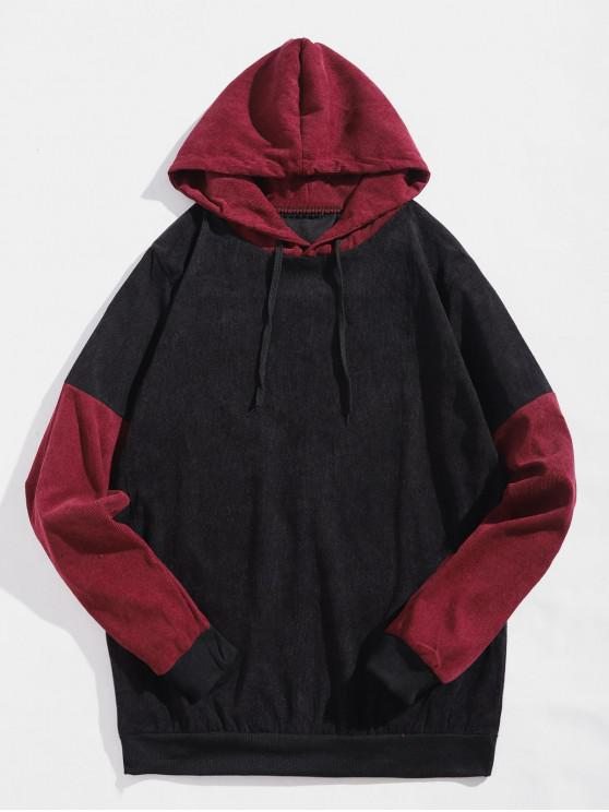 fancy Colorblock Splicing Casual Hoodie - BLACK S