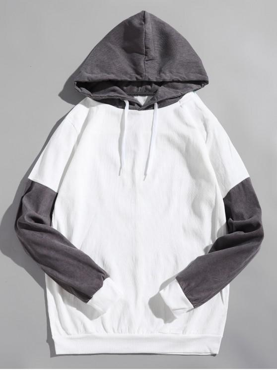 sale Colorblock Splicing Casual Hoodie - WHITE XS