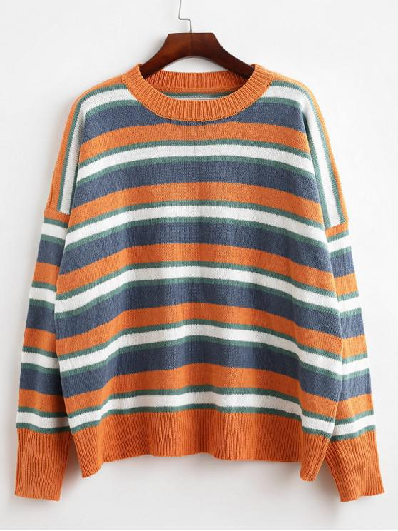 Suéter de gran tamaño con cuello redondo y rayas - Multicolor-A Talla única