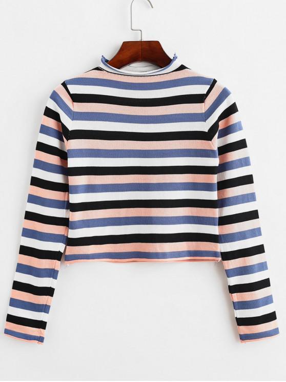 Suéter de rayas coloridas recortadas con cuello simulado - Multicolor-A Talla única
