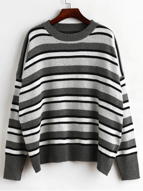 fashion Oversized Crew Neck Stripes Pullover Sweater - MULTI-B ONE SIZE