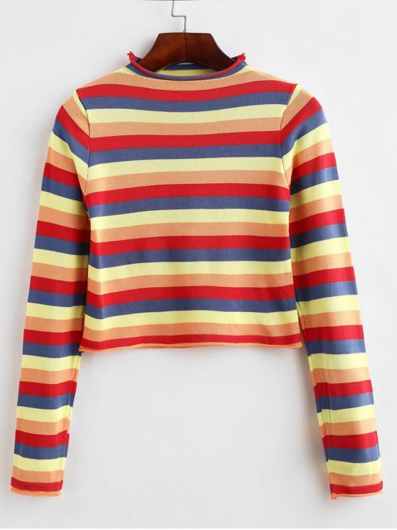 Suéter de rayas coloridas recortadas con cuello simulado - Multicolor-B Talla única