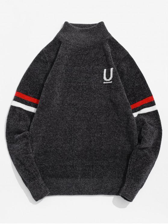 women's Letter Stripes Graphic Pullover Sweater - DARK GRAY S