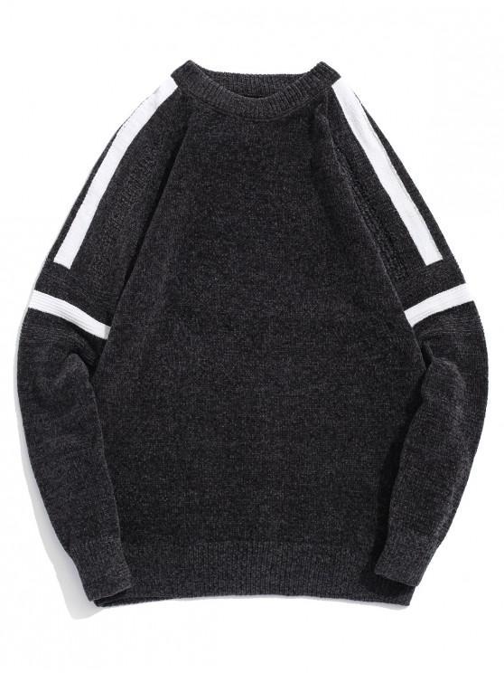 unique Contrast Color Graphic Raglan Sleeve Pullover Sweater - DARK GRAY XS