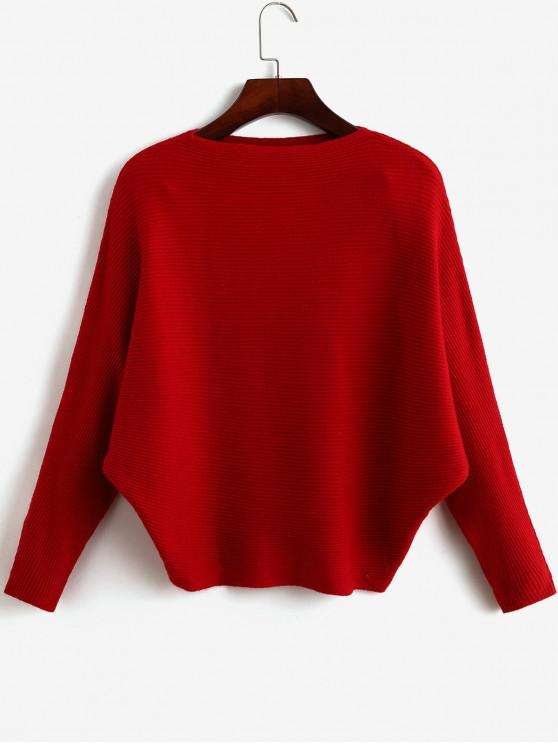 lady Plain Batwing Sleeve Pullover Sweater - CHERRY RED ONE SIZE