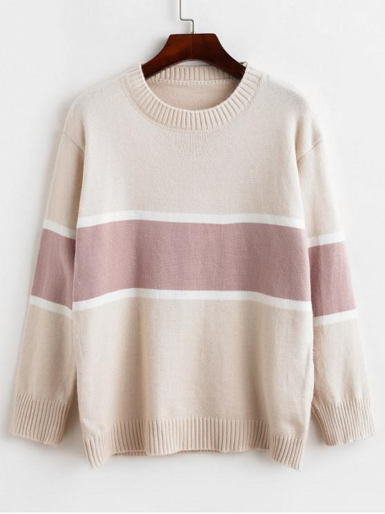 best Pullover Crew Neck Colorblock Sweater - BEIGE ONE SIZE