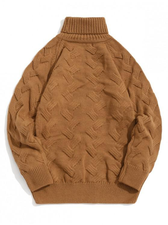 outfit Chunky Knit Raglan Sleeve Turtleneck Pullover Sweater - COOKIE BROWN S
