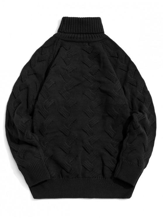 trendy Chunky Knit Raglan Sleeve Turtleneck Pullover Sweater - BLACK S