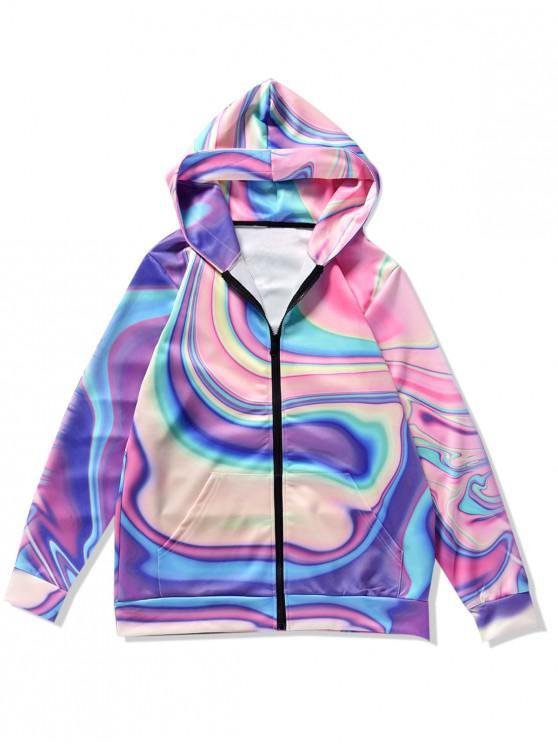 fashion Asymmetric Dazzle Print Zip Up Hoodie - MULTI M
