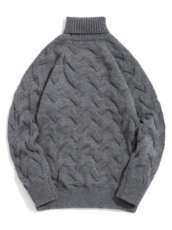 Jersey de cuello alto y manga raglán de punto grueso - Gris S
