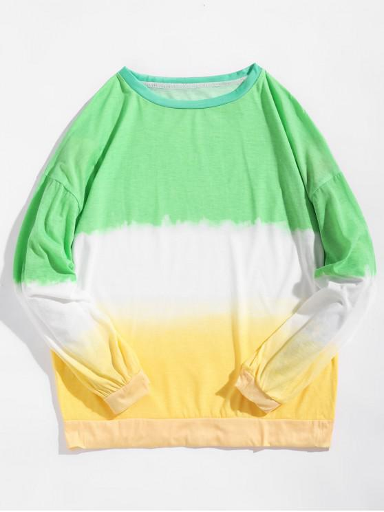 fashion Drop Shoulder Dip Dye Longline Sweatshirt - MULTI M