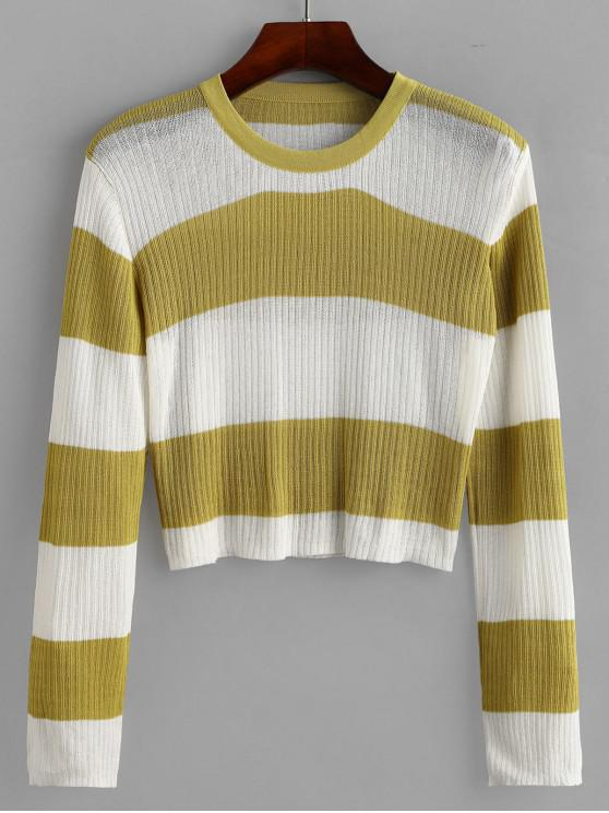 chic Crew Neck Colorblock Stripes Cropped Sweater - MULTI-A ONE SIZE