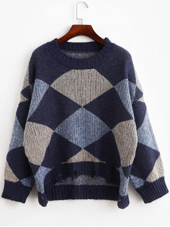 trendy Drop Shoulder Frayed Geometric Graphic Sweater - MULTI-A ONE SIZE