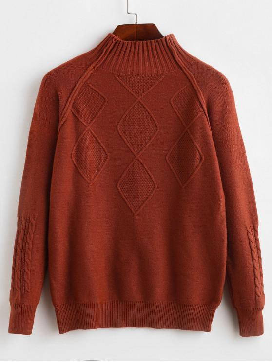 unique Mock Neck Raglan Sleeve Cable Knit Sweater - RUST ONE SIZE