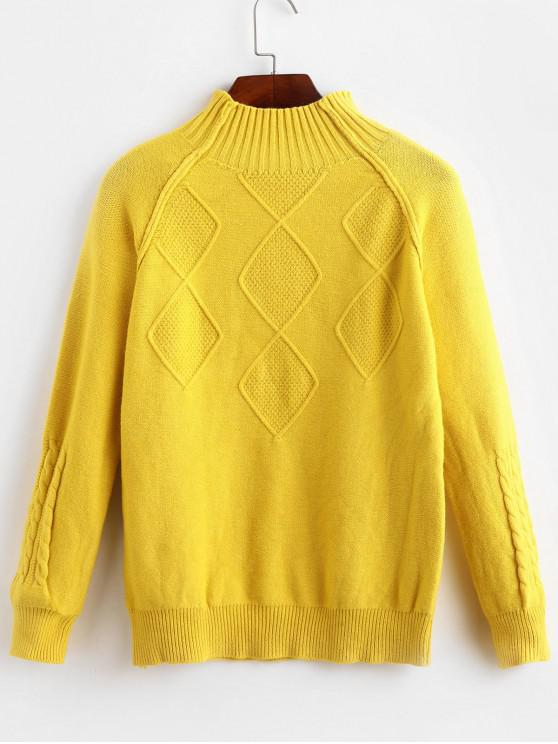 ladies Mock Neck Raglan Sleeve Cable Knit Sweater - GOLDEN BROWN ONE SIZE