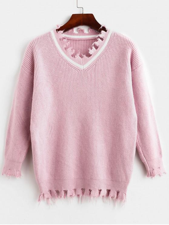 Suéter con cuello en V deshilachado - Rosado Talla única