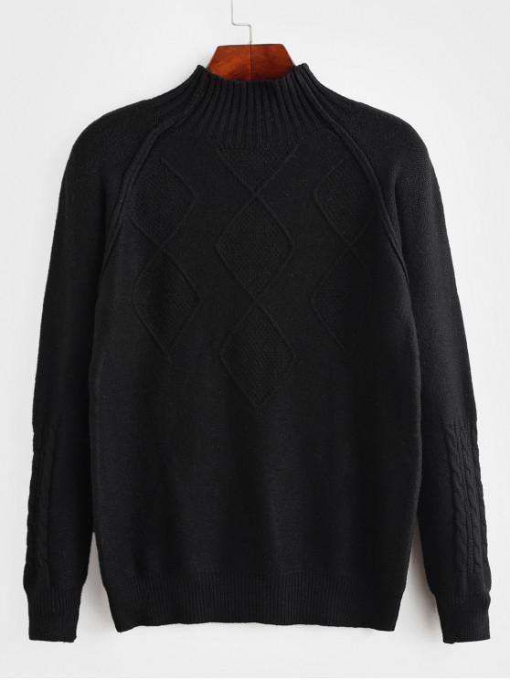 fashion Mock Neck Raglan Sleeve Cable Knit Sweater - BLACK ONE SIZE